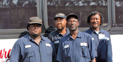 Williamsburg County Transit Shop Crew (left to right): Gary, Jason, Lowis Dorsey, Brutus Jones